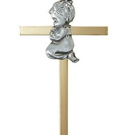 "Christian Brands 4.25"" Brass Cross - Baby Girl"