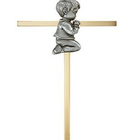 "Christian Brands 7"" Brass Cross - Baby Boy"