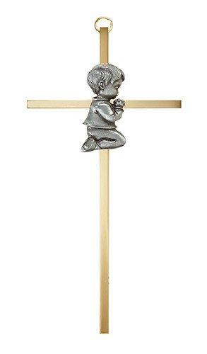 "Christian Brands 7"" Brass Cross - Baby Boy"