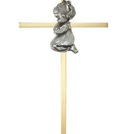 "Christian Brands 7"" Brass Cross - Baby Girl"