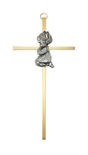 """Christian Brands 7"""" Brass Cross - Baby Girl"""
