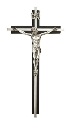 "Christian Brands 10"" Black Crucifix with Nickel Plate Inlay"
