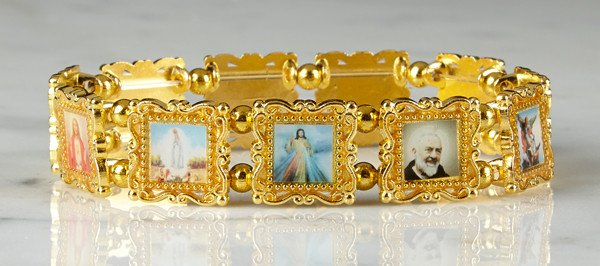 Christian Brands Gold Patron Saints Bracelet
