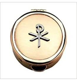 """Pyx With Chi-Rho Cross (PC571) - 1 1/2"""" Diameter, 1/2"""" Deep, Polished Gold Plated, Holds 6-9 Hosts"""