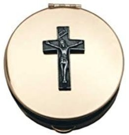"Pyx with Crucifix (PC813) - 2 1/8"" Diameter, 1/2"" Deep, Polished Gold Plated, Holds 20-25 Hosts"