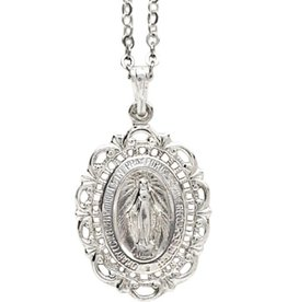 Wallace Brother manufacturing Sterling Silver Filigree Lace Miraculous Medal