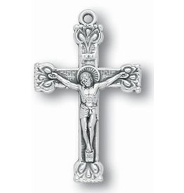 "WJ Hirten 1.5"" Silver Oxidized Fancy Crucifix"