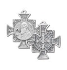 "1"" SILVER OXIDIZED ST. BENEDICT MEDAL"