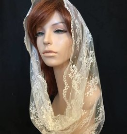 Hand-made Chantilly Lace Veil-Infintiy Scarf