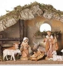 Fontanini Fontanini 5-Inch Nativity Figure with Italian Stable, Set of 8