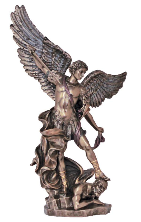 Goldscheider of Vienna St. Michael by Veronese, Bronzed Resin, Lightly Hand-Painted, 14""