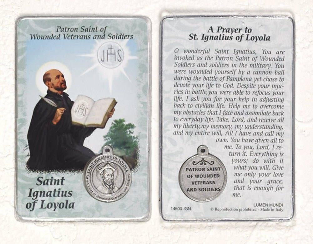 Lumen Mundi Healing Saint - St Ignatius Card with Medal