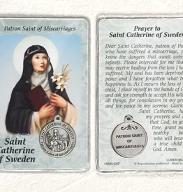 Lumen Mundi Healing Saint - St. Catherine of Sweden Card with Medal
