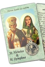 Lumen Mundi Healing Saint - St Nicholas/St Dymphna Card with Medal