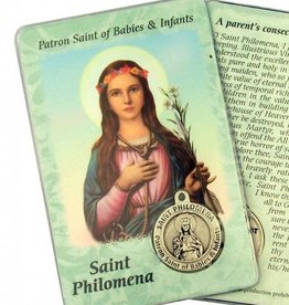 Lumen Mundi Healing Saint - St Philomena Card with Medal