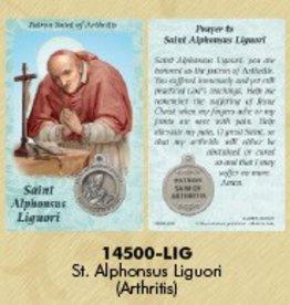 Lumen Mundi Healing Saint - St Alphonsus Ligouri Card with Medal