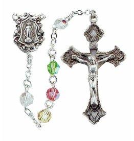 HMH Religious 6mm Round Multi Color Swarovski Crystal Sterling Rosary