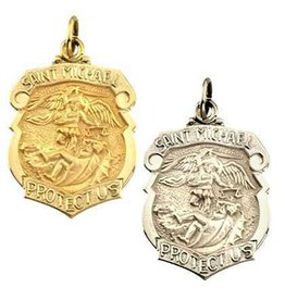 HMH Religious 16k Gold over Sterling Silver Large St Michael Shield