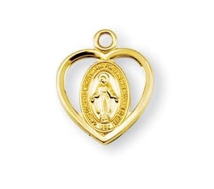 "HMH Religious 16kt Gold Over Sterling Silver Tiny Pierced Miraculous Medal with 16"" Chain"