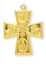 """HMH Religious Gold Over Sterling Silver Large Gothic 4 Way Cross with 24"""" Chain"""