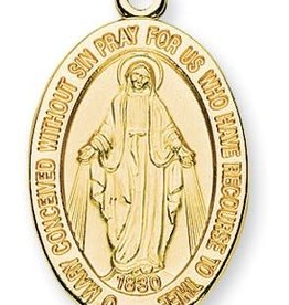 "HMH Religious 16kt Gold Over Sterling Silver Large Miraculous Medal with 20"" Chain"