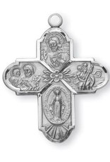 "HMH Religious Sterling Silver 4 Way Cross Flower Center With 24"" Chain"
