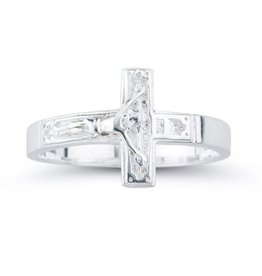 HMH Religious Sterling Silver Crucifix Ring Size 5