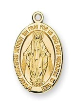 "HMH Religious 16kt Gold Over Sterling Silver Oval Miraculous Medal With 18"" Chain"