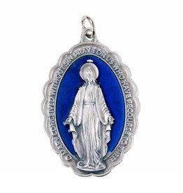 "WJ Hirten 2 1/4"" Miraculous Medal - Blue Enameled"