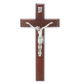 "WJ Hirten 11"" Crucifix Dark Cherry with Silver Corpus"