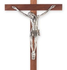 "WJ Hirten 13"" Walnut Crucifix with Pewter Corpus"