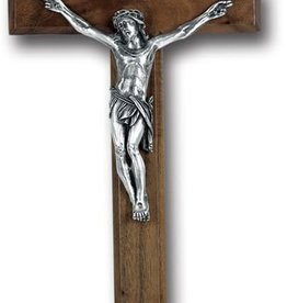 "WJ Hirten 12"" Walnut Crucifix with Silver Plated Corpus"
