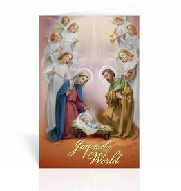 WJ Hirten Holy Family In a Manger With Seven Angels Greeting Card