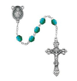 McVan 6MM AB Emerald- May Rosary, Silver Onyx Center & Crucifix,