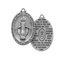 """McVan Pewter Miraculous Hail Mary Medal on 18"""" Chain"""