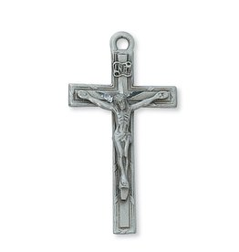 "McVan 1.75"" Pewter Crucifix With Hand-Cut Highlights on A 24"" Chain Necklace"