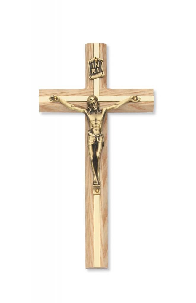 "McVan 8"" Oak Inlay Crucifix with Gold Toned Corpus"