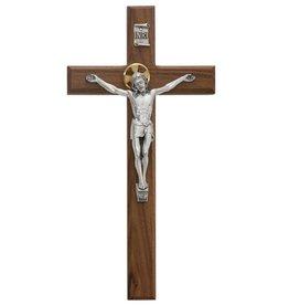 "McVan 13"" Walnut Crucifix Silver Corpus"