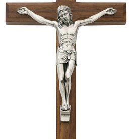 "McVan 10"" Beveled Walnut Crucifix with Silver Corpus"