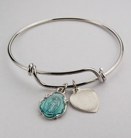 McVan Blue Enamel Miraculous Medal Bangle Bracelet
