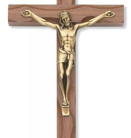"McVan 10"" Carved Walnut Crucifix with Antique Bronze Finish Corpus"