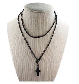 McVan Black Corded Rosary Necklace