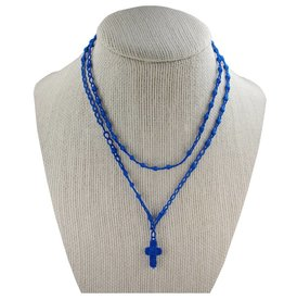 McVan Blue Corded Rosary Necklace