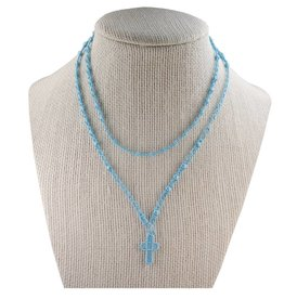 McVan Aqua Corded Rosary Necklace