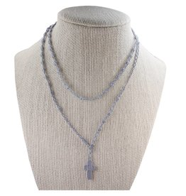 McVan Gray Corded Rosary Necklace