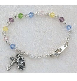 "McVan 5 1/2"" Multi-Color Baby Bracelet with 4mm Tincut Crystal Beads and Sterling Silver Crucifix and Miraculous Medal"