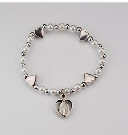 McVan Baby Heart Stretch Bracelet with Silver Oxidized Miraculous Heart