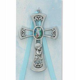 "McVan 3 3/4"" Guardian Angel Boy Blue Crib Cross"