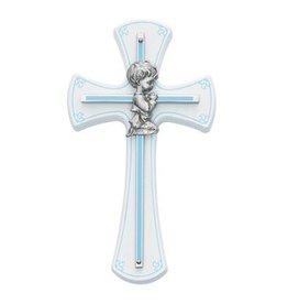 McVan Baby Boy Cross on White Wood, Blue Trim & Blue Silk Screen
