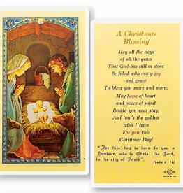 """Holy Card """"A Christmas Blessing"""" Laminated"""